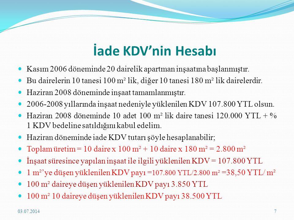 İade KDV'nin Hesabı Kasım 2006 döneminde 20 dairelik apartman inşaatına başlanmıştır.