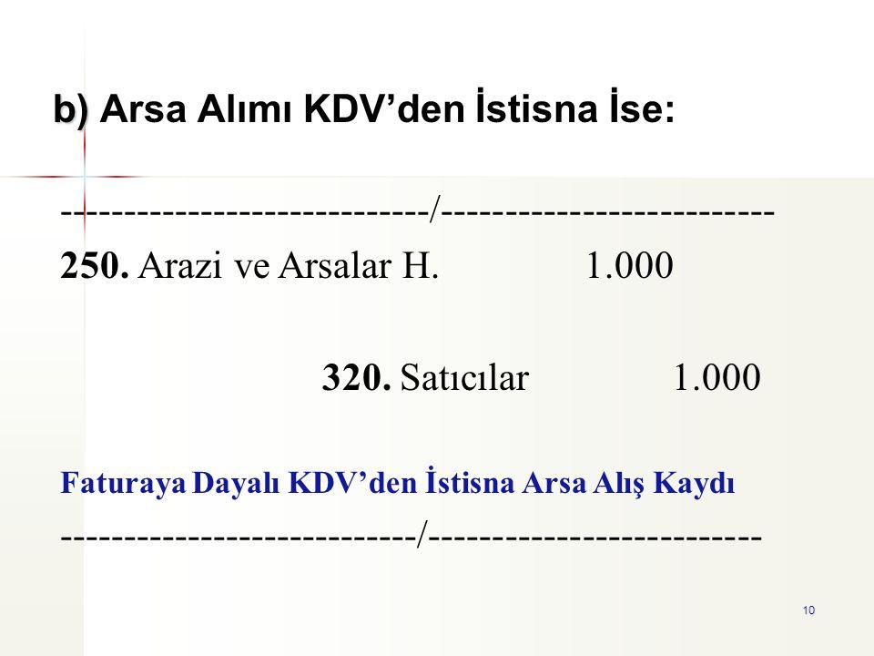 b) Arsa Alımı KDV'den İstisna İse: