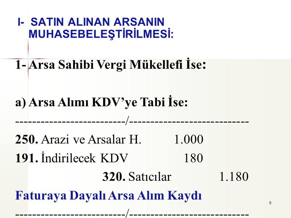 1- Arsa Sahibi Vergi Mükellefi İse: a) Arsa Alımı KDV'ye Tabi İse: