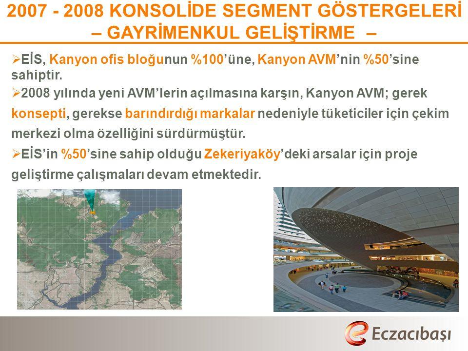 2007 - 2008 KONSOLİDE SEGMENT GÖSTERGELERİ – GAYRİMENKUL GELİŞTİRME –
