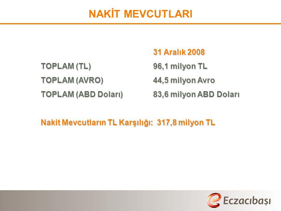 NAKİT MEVCUTLARI TOPLAM (TL) 96,1 milyon TL