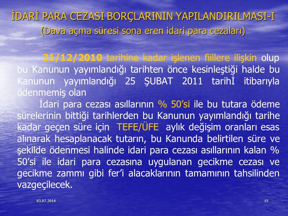 İDARİ PARA CEZASI BORÇLARININ YAPILANDIRILMASI-I