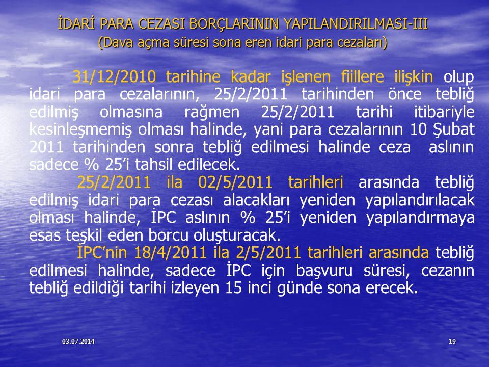 İDARİ PARA CEZASI BORÇLARININ YAPILANDIRILMASI-III