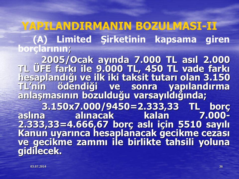 YAPILANDIRMANIN BOZULMASI-II