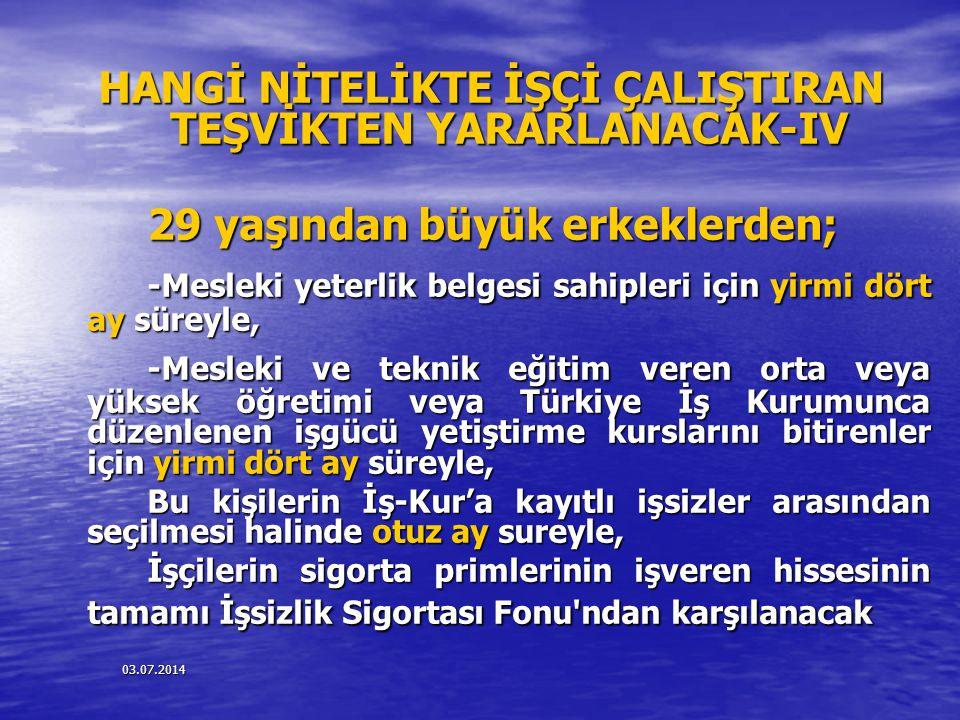 HANGİ NİTELİKTE İŞÇİ ÇALIŞTIRAN TEŞVİKTEN YARARLANACAK-IV