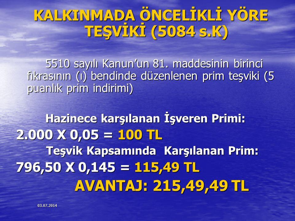 KALKINMADA ÖNCELİKLİ YÖRE TEŞVİKİ (5084 s.K)