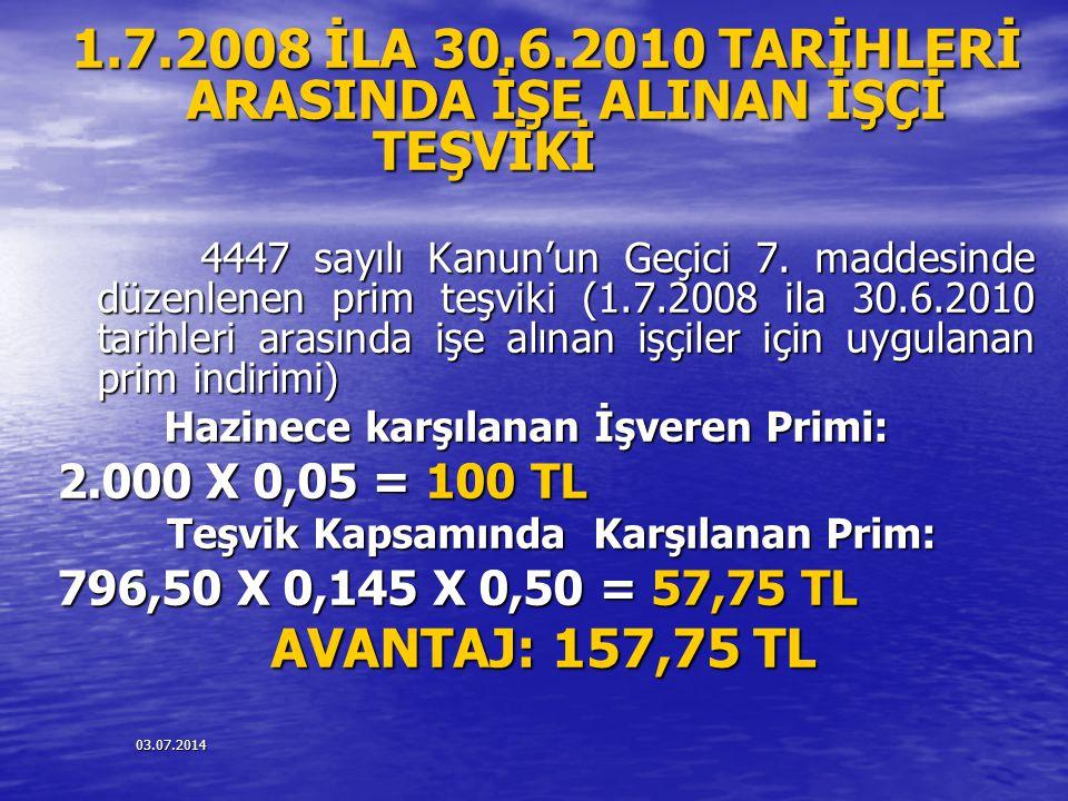 1.7.2008 İLA 30.6.2010 TARİHLERİ ARASINDA İŞE ALINAN İŞÇİ TEŞVİKİ