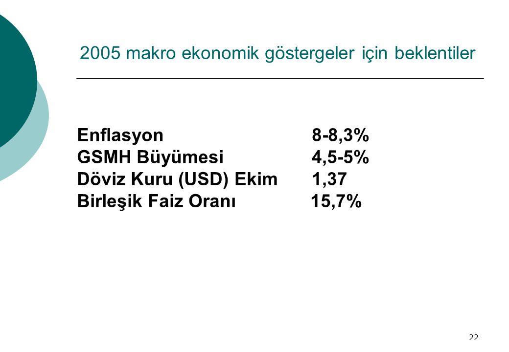 2005 makro ekonomik göstergeler için beklentiler