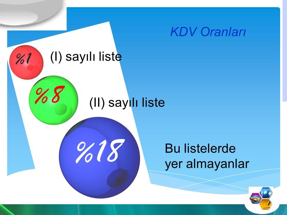 %18 %8 %1 KDV Oranları (I) sayılı liste (II) sayılı liste