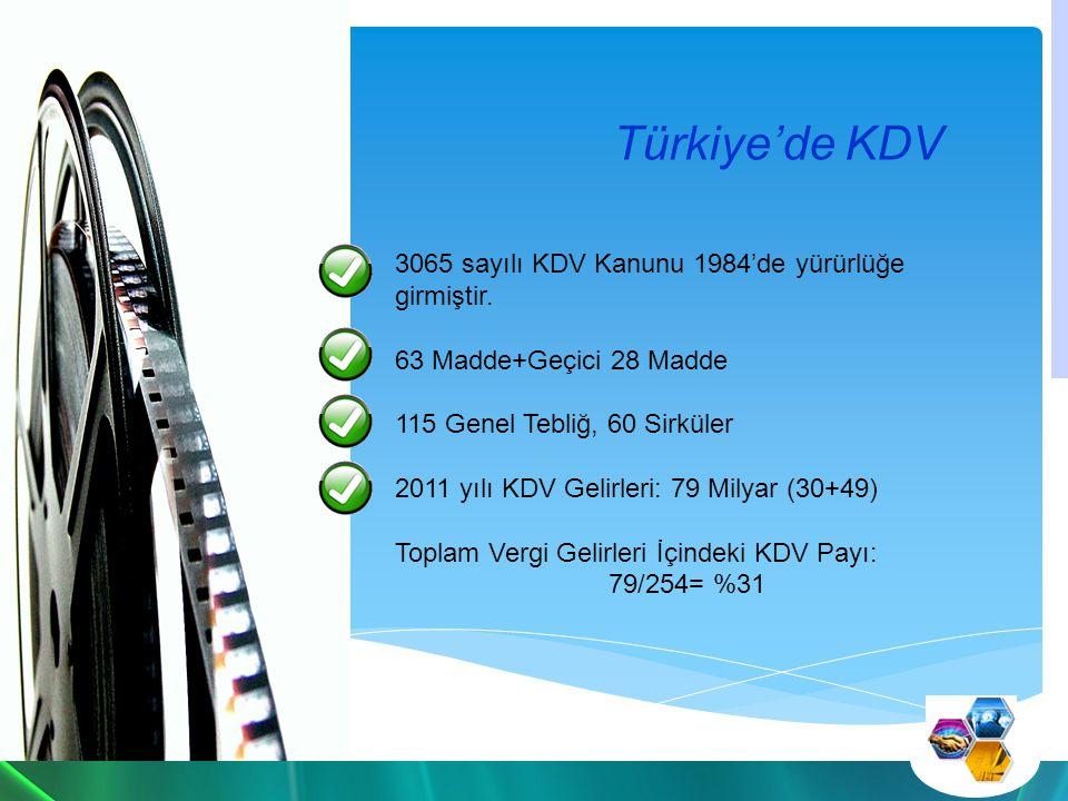 Türkiye'de KDV 3065 sayılı KDV Kanunu 1984'de yürürlüğe girmiştir.
