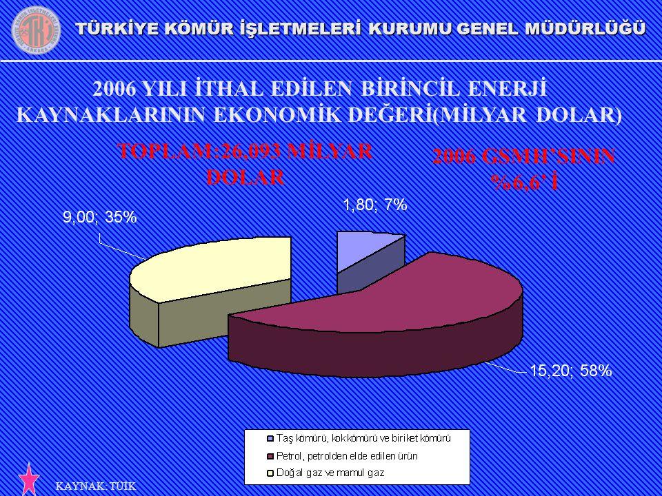 2006 YILI İTHAL EDİLEN BİRİNCİL ENERJİ KAYNAKLARININ EKONOMİK DEĞERİ(MİLYAR DOLAR)