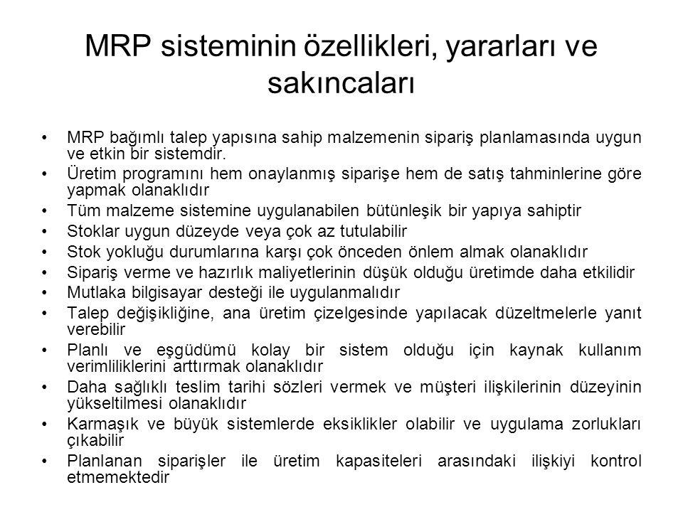 MRP sisteminin özellikleri, yararları ve sakıncaları