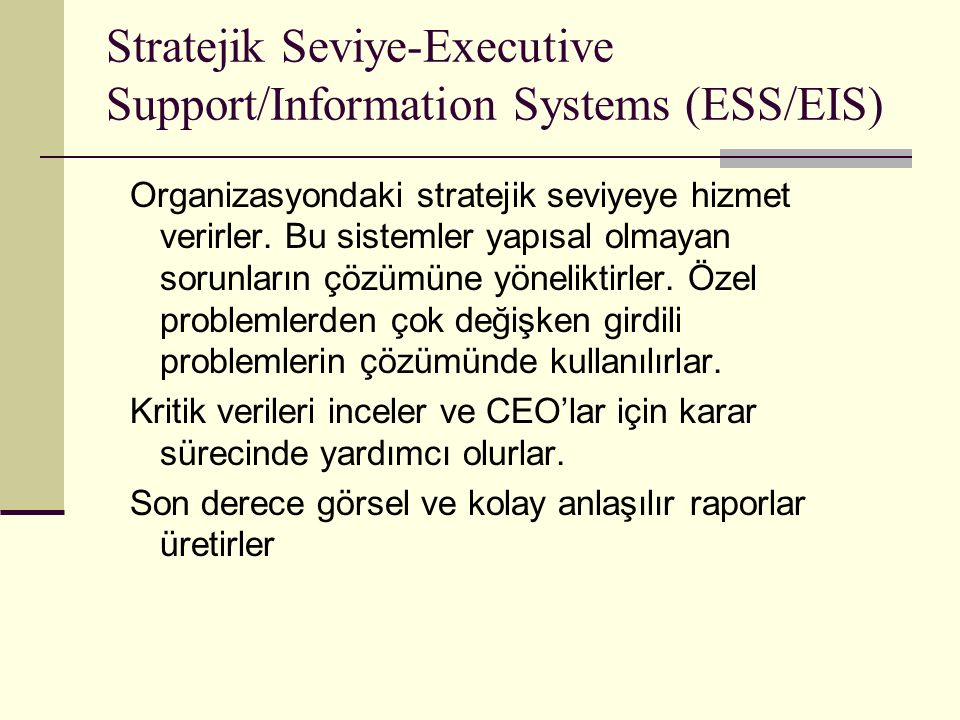 Stratejik Seviye-Executive Support/Information Systems (ESS/EIS)