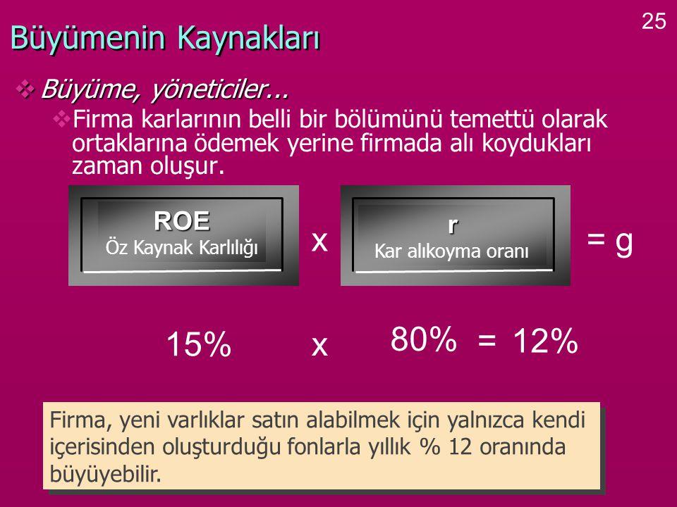 x = g 80% 15% x = 12% Büyümenin Kaynakları Büyüme, yöneticiler... ROE