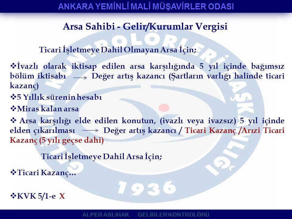 Arsa Sahibi - Gelir/Kurumlar Vergisi