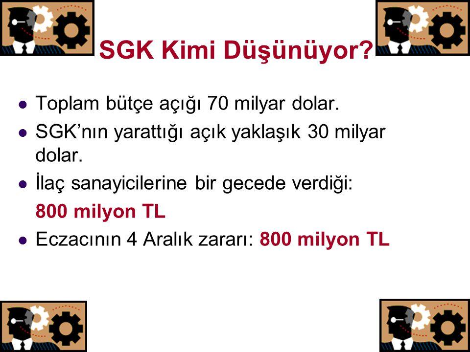 SGK Kimi Düşünüyor Toplam bütçe açığı 70 milyar dolar.