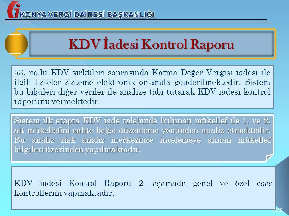 KONYA VERGİ DAİRESİ BAŞKANLIĞI KDV İadesi Kontrol Raporu