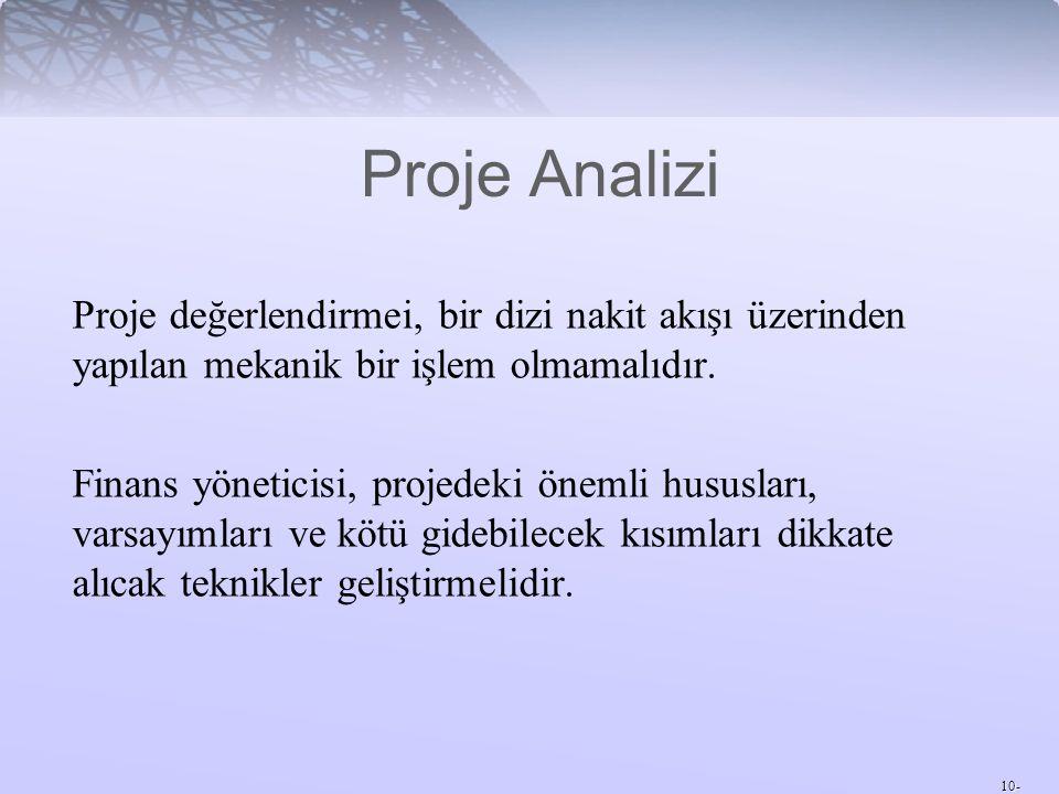 Proje Analizi Proje değerlendirmei, bir dizi nakit akışı üzerinden yapılan mekanik bir işlem olmamalıdır.