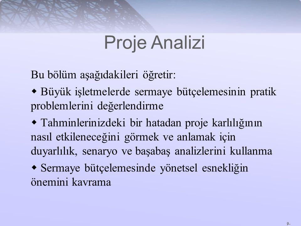 Proje Analizi Bu bölüm aşağıdakileri öğretir: