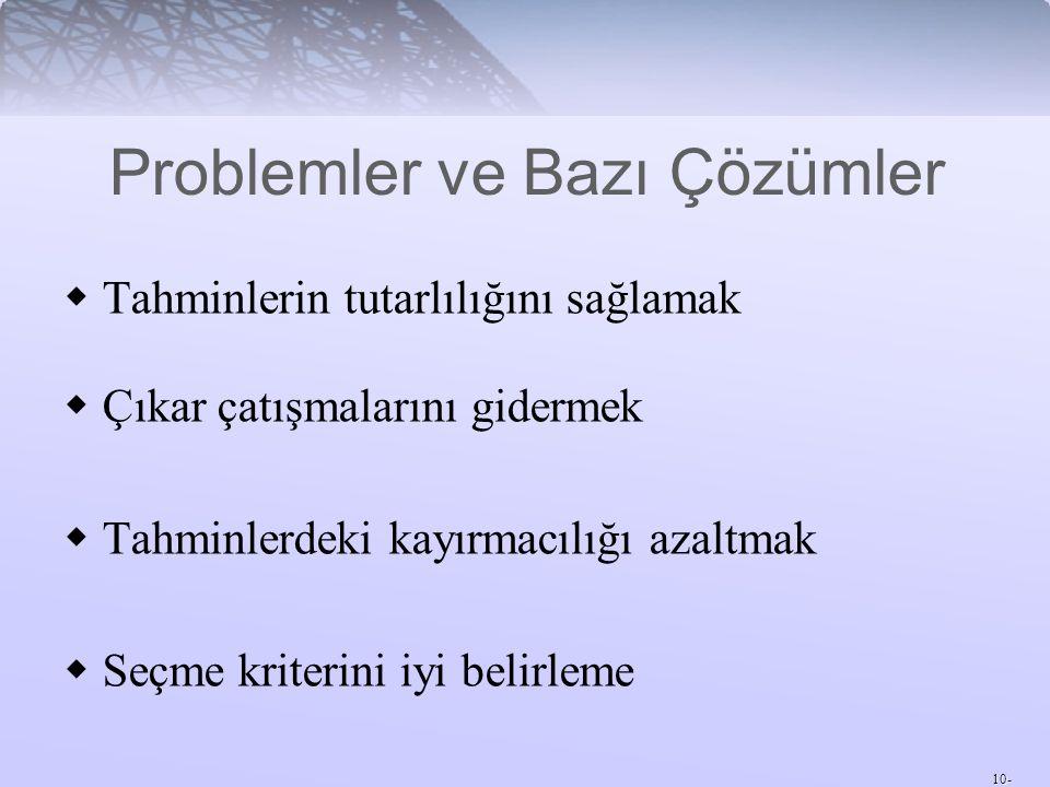 Problemler ve Bazı Çözümler