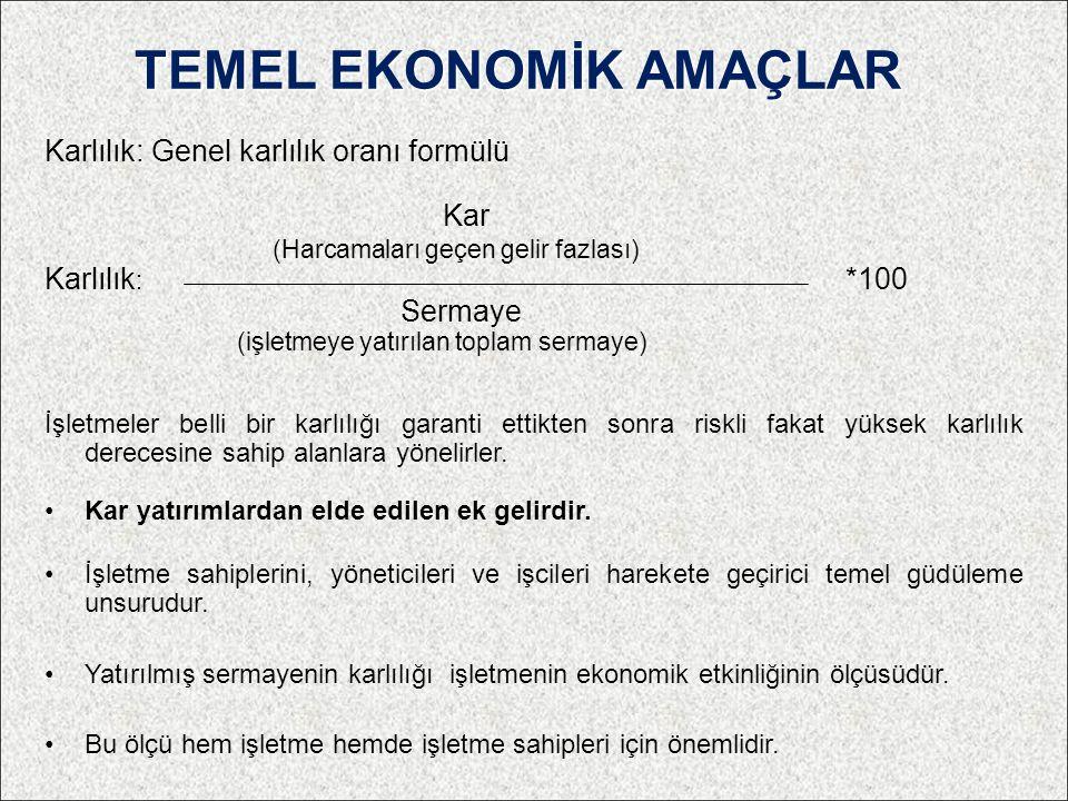 TEMEL EKONOMİK AMAÇLAR