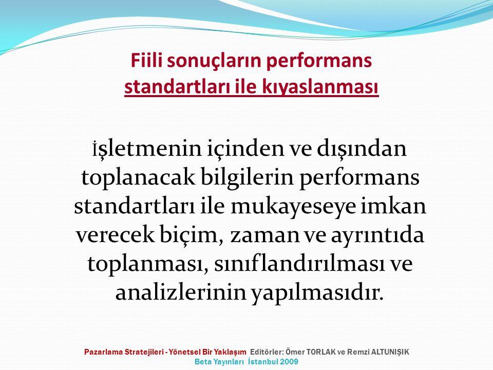 Fiili sonuçların performans standartları ile kıyaslanması