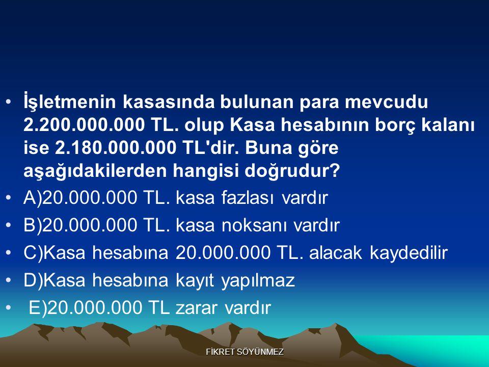 A)20.000.000 TL. kasa fazlası vardır