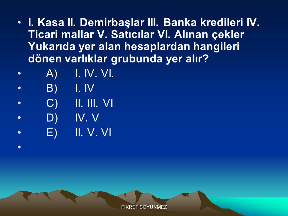 I. Kasa II. Demirbaşlar III. Banka kredileri IV. Ticari mallar V