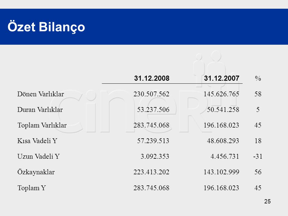 Özet Bilanço 31.12.2008 31.12.2007 % Dönen Varlıklar 230.507.562