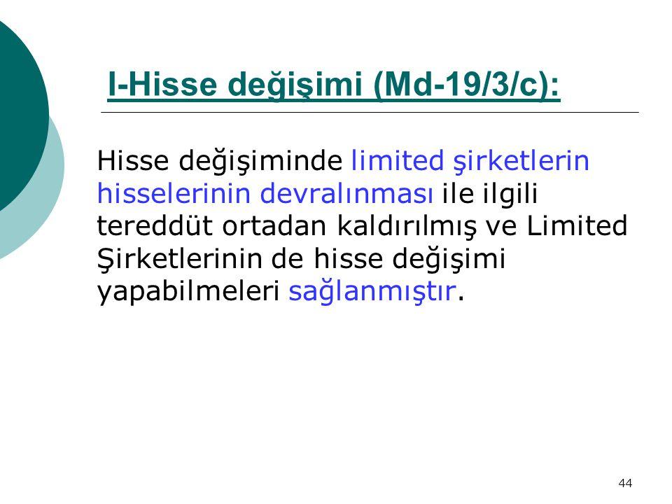 I-Hisse değişimi (Md-19/3/c):