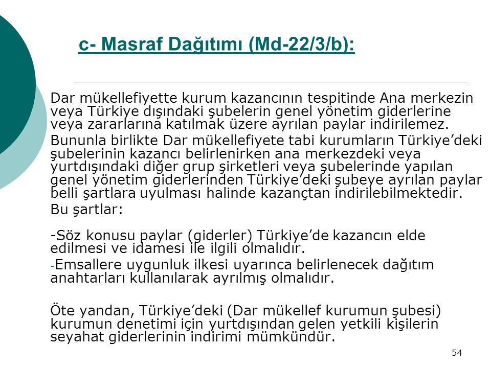 c- Masraf Dağıtımı (Md-22/3/b):