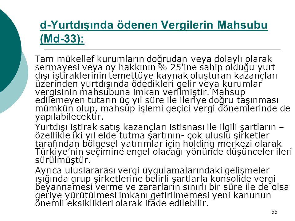 d-Yurtdışında ödenen Vergilerin Mahsubu (Md-33):