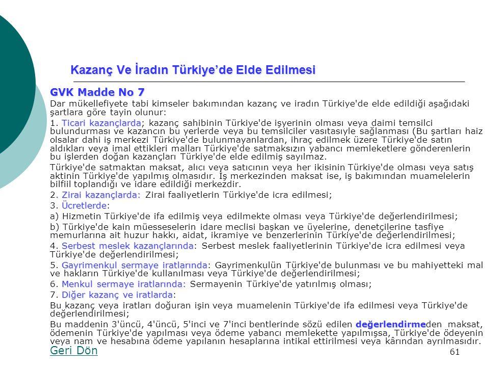 Kazanç Ve İradın Türkiye'de Elde Edilmesi