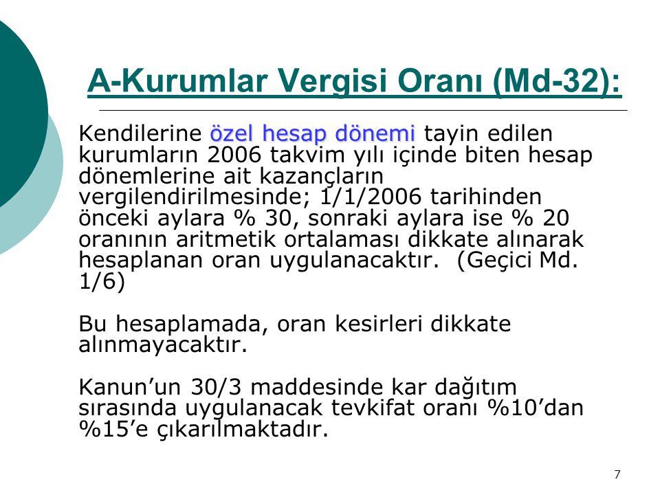 A-Kurumlar Vergisi Oranı (Md-32):