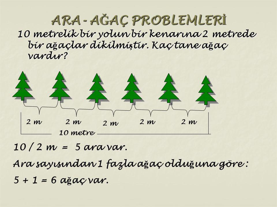 ARA- AĞAÇ PROBLEMLERİ 10 metrelik bir yolun bir kenarına 2 metrede bir ağaçlar dikilmiştir. Kaç tane ağaç vardır