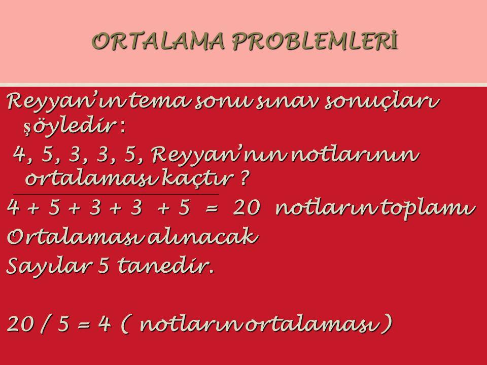 ORTALAMA PROBLEMLERİ Reyyan'ın tema sonu sınav sonuçları şöyledir :