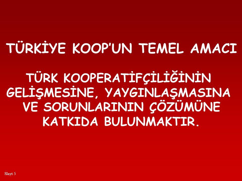 TÜRKİYE KOOP'UN TEMEL AMACI