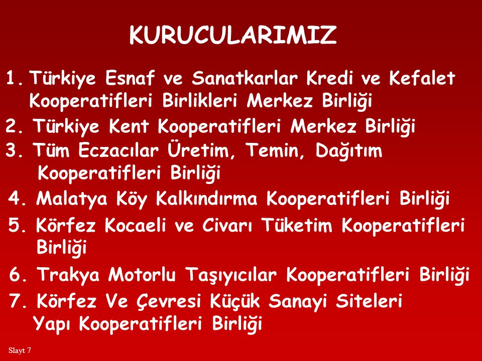 KURUCULARIMIZ Türkiye Esnaf ve Sanatkarlar Kredi ve Kefalet
