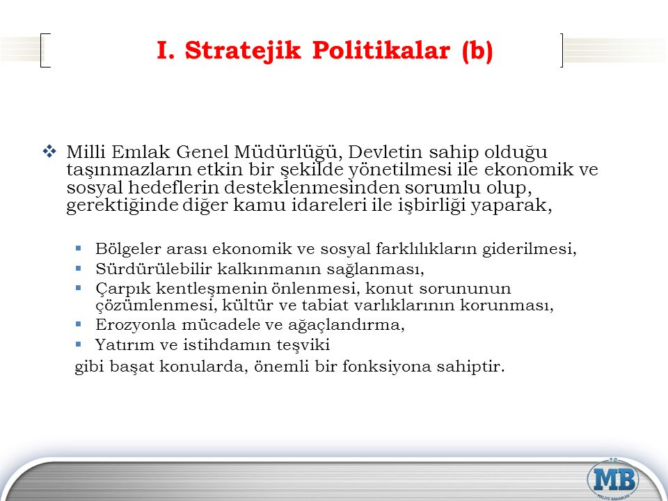 I. Stratejik Politikalar (b)