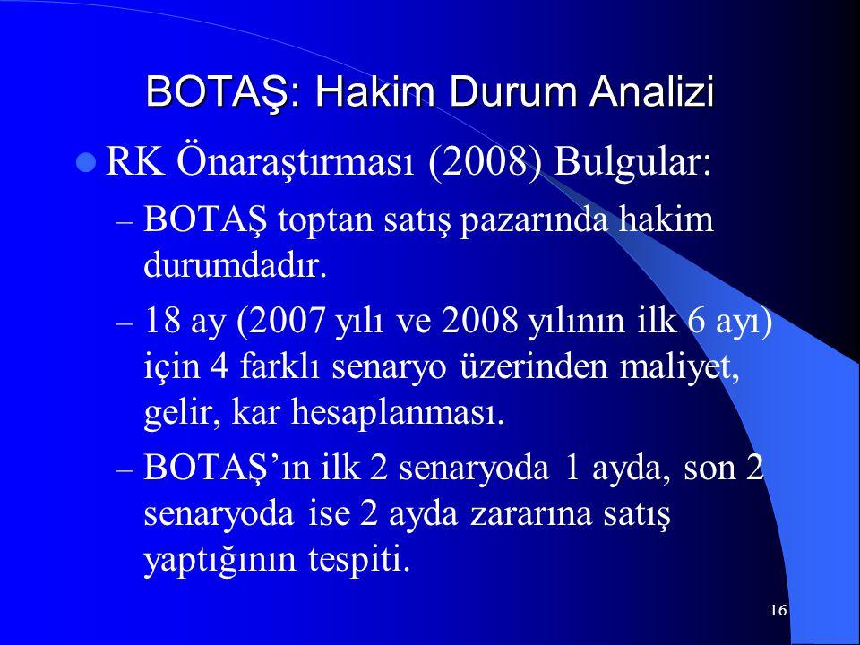 BOTAŞ: Hakim Durum Analizi