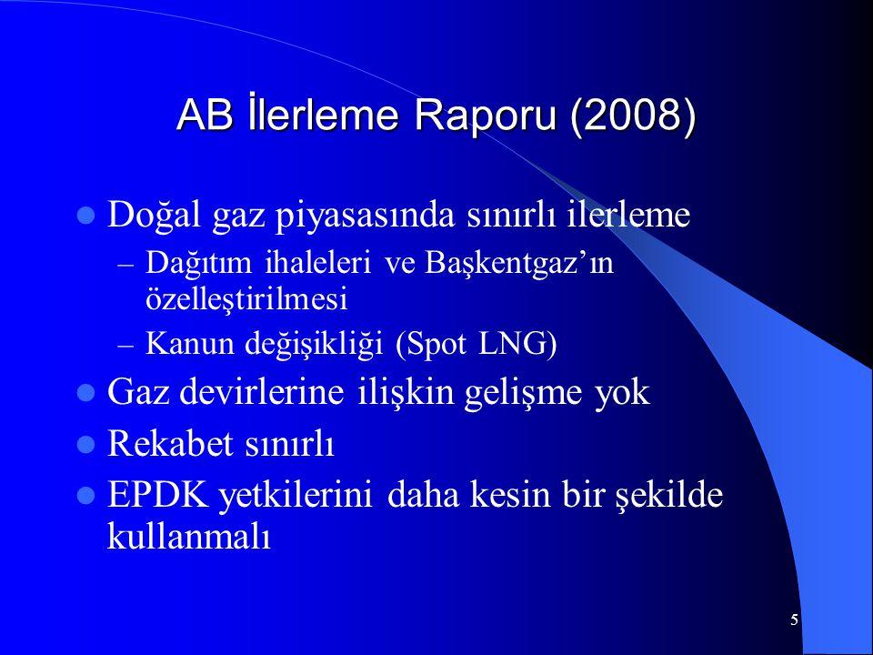 AB İlerleme Raporu (2008) Doğal gaz piyasasında sınırlı ilerleme
