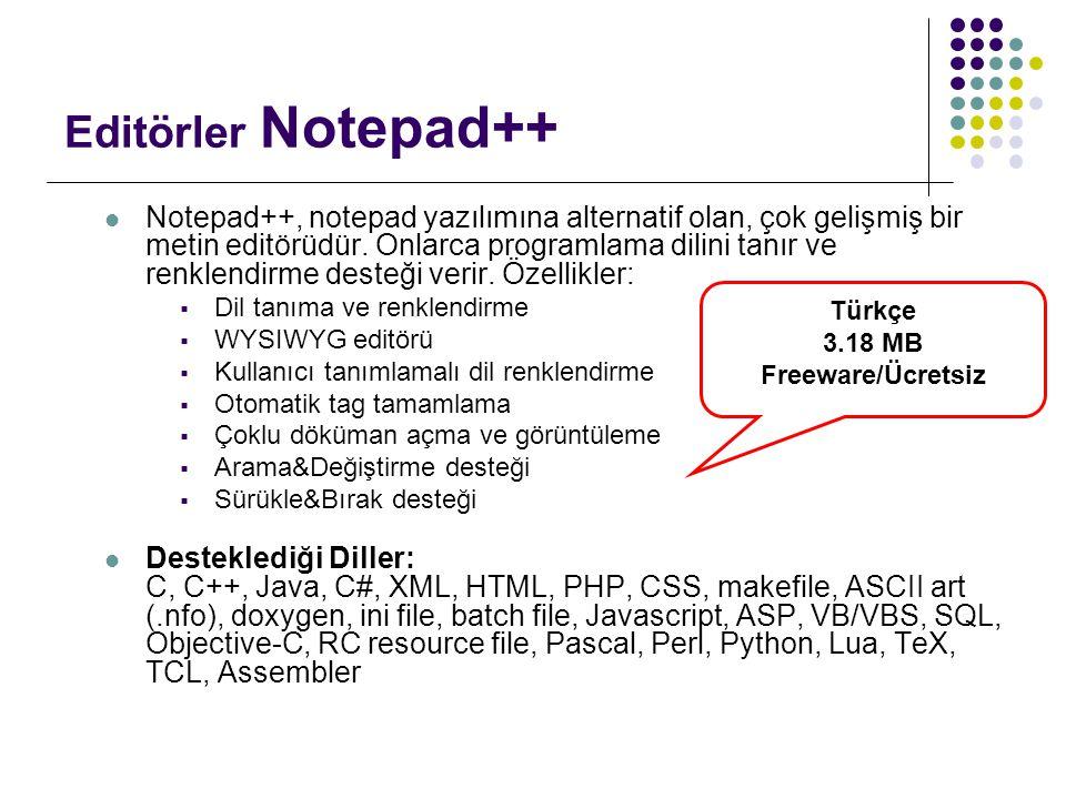 Editörler Notepad++