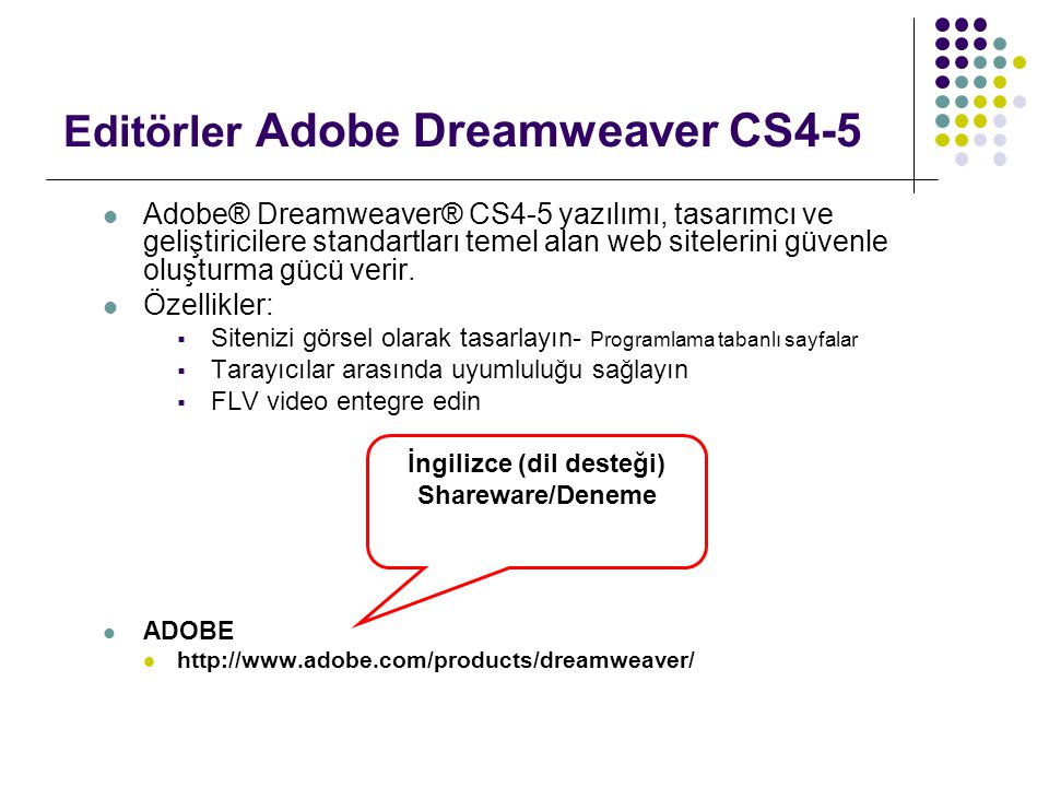 Editörler Adobe Dreamweaver CS4-5