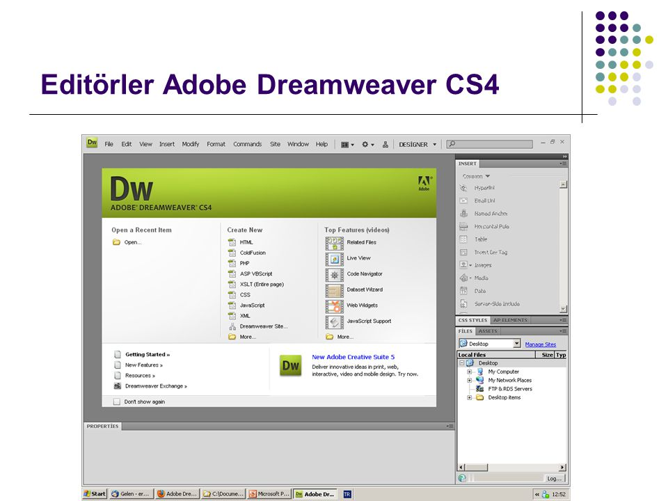 Editörler Adobe Dreamweaver CS4