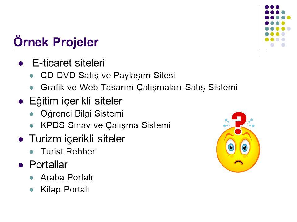 Örnek Projeler E-ticaret siteleri Eğitim içerikli siteler