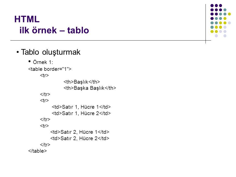 Web programlama kursu bu kurs ne de ildir neyi ama for Tr and td in html