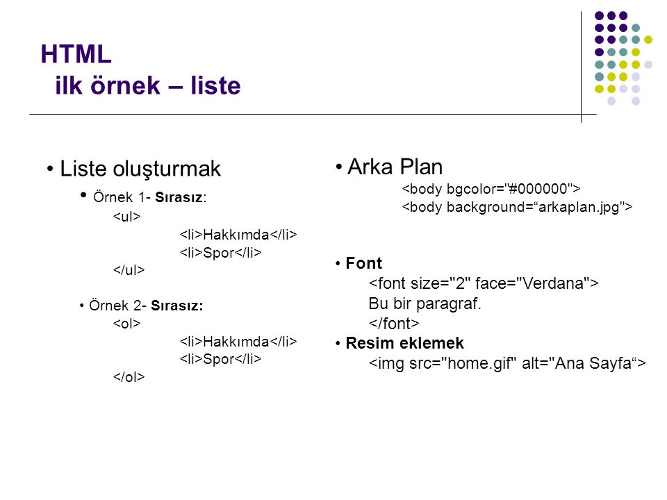HTML ilk örnek – liste Liste oluşturmak Arka Plan Örnek 1- Sırasız: