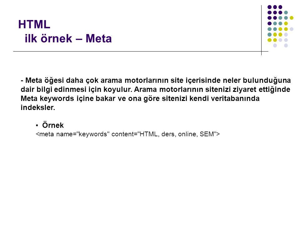HTML ilk örnek – Meta