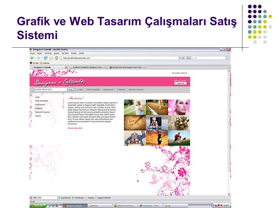 Grafik ve Web Tasarım Çalışmaları Satış Sistemi