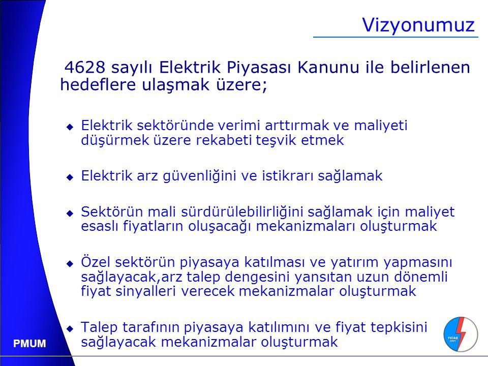 Vizyonumuz 4628 sayılı Elektrik Piyasası Kanunu ile belirlenen hedeflere ulaşmak üzere;